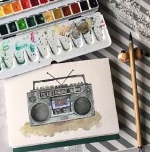 老式录音机水彩画图片 老式收音机水彩手绘教程图片 画法