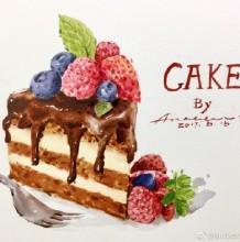 草莓蓝莓巧克力蛋糕水彩画图片手绘教程 巧克力蛋糕怎么画 画法