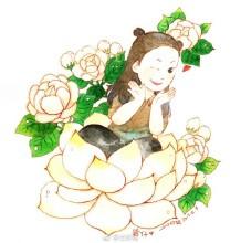 鲜花童子水彩画图片 鲜花童子手绘教程画法 鲜花童子怎么画
