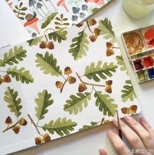 适合做背景底纹图案的水彩纹理图案 清新美丽的花草手绘图片