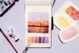 一组简单美丽的风景水彩速涂手绘小图 带色样 风景水彩图片