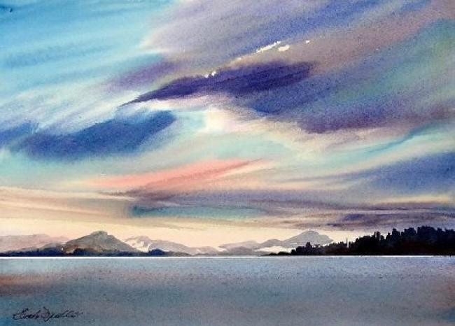 唯美海景水彩画图片 海天一线海水与天空意境水彩画