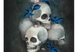 骷髅与玫瑰水彩插画 暗黑风手绘教程 步骤过程画法