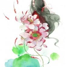荷花莲花仙子水彩画手绘教程图片 线稿与完成图对比画法