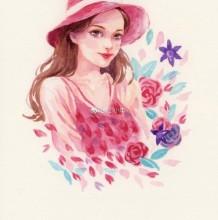 带遮阳帽的夏日漂亮女生水彩画手绘教程图片 鲜花围绕的小姐姐