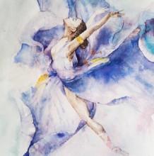跳芭蕾的女生水彩画图片 穿芭蕾舞裙跳芭蕾的女生优美舞姿水彩画作品