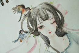 清纯甜美的古风女子水彩画图片 清纯甜美的古代女生水彩画教程