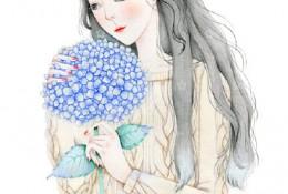 少女与绣球花水彩画图片教程步骤 唯美长发美女与鲜花球水彩手绘教程