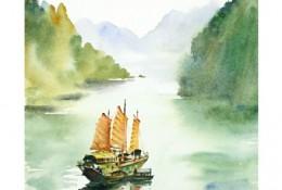 描绘桂林山水的水彩画图片 桂林山水水彩画手绘教程