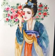 古风美女水彩画图片教程 古风美女手绘教程图片步骤画法
