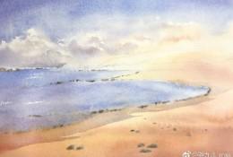 简单海边沙滩水彩画手绘教程图片 浪漫沙滩绘画怎么画 画法