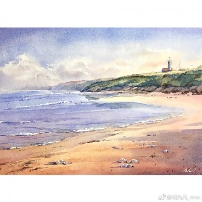 简单海边沙滩水彩画手绘教程图片 浪漫沙滩绘画怎么画