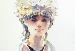 少数民族苗族少女水彩画简单画法教程图片
