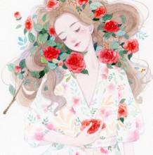 茶花与少女水彩插画手绘教程图片 安静文静的女生在茶花中唯美水彩画画法啊