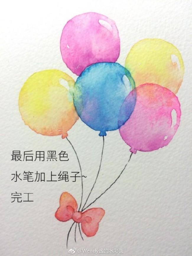 簡單好看的氣球水彩畫圖片 氣球水彩手繪教程 零基礎新手學水彩圖片