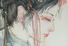 古风水彩女子专辑 倾世容颜只为君生 唯美古风插画