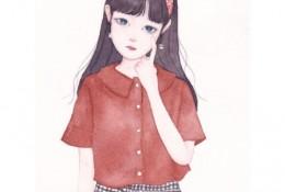 长发带发箍的女生唯美插画水彩手绘教程图片 画法