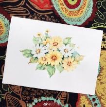 漂亮的小菊花水彩画图片 唯美的小菊花水彩手绘教程画法