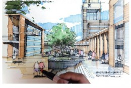 城市建筑步道长廊马克笔建筑效果图手绘教程图片