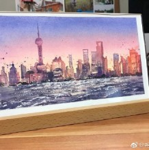 上海外滩风景水彩画图片 上海外滩建筑风光手绘教程图片