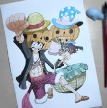 海贼王路飞和乔巴水彩画图片 路飞和乔巴一起的水彩画画法
