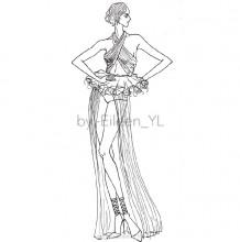 人物时装效果图手绘线稿图片 可时装设计新手练习