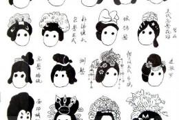 简单可爱的Q版古风女生人物发型示例大合集参考图片