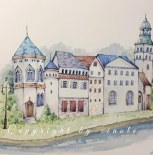 小清新淡雅清爽的欧式建筑水彩画图片教程画法