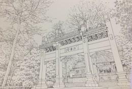 中国古建筑牌坊门楼钢笔画线稿图片