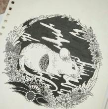 十二生肖针管笔黑白插画手绘图片作品 钢笔12生肖动物画法