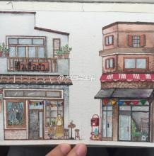 温馨的二层小楼复式楼水彩画手绘教程图片 复式楼画法