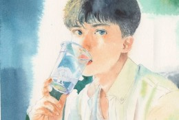 超帅的男生帅哥水彩画手绘教程图片 阳光下坐着喝水的小哥哥水彩画