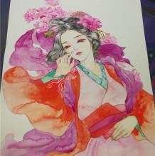 超美艳古风女子水彩插画手绘教程图片 古风女性人物插画教程步骤画法