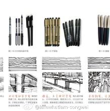 钢笔画/马克笔手绘的入门教程 工具、线条和对体积与光影的认识和理解