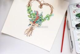 很美的爱心花环水彩手绘教程图片 漂亮的爱心花环水彩怎么画 画法
