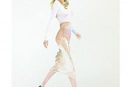 优雅的女性侧身水彩画图片 简单的穿裙子女生侧面水彩画怎么画画法教程步骤