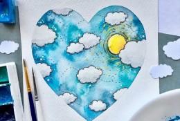 创意温馨的心形水彩插画图片 心形唯美水彩插画作品
