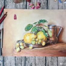 李子葡萄杯子盆子彩铅景物手绘教程图片 过程步骤画法