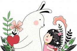 可爱又温馨的小女孩和兔子治愈系插画图片 画风有点童真是很有爱