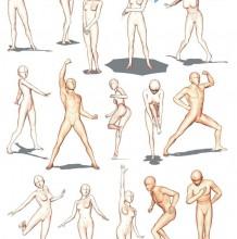男女动漫人物 人体姿势模型演示图片 各种姿势和动态都有