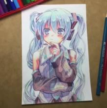 教程/初音小萝莉彩铅手绘 多少人想过画初音呢?