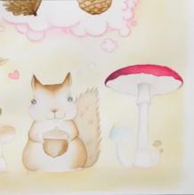 教程/童话故事水彩插画手绘 可爱的小松鼠想什么呢?