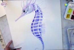 唯美小海马水彩画手绘教程,美番了!