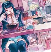 一手吃面,一手逗猫的女孩水彩画手绘教程