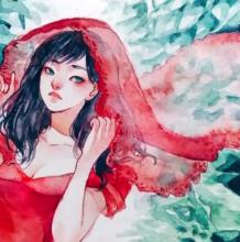 红舞裙,红头纱的水彩女子