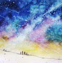 流星雨水彩教程 星空水彩画画法
