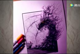 用铅笔画一头烟雾效果的龙