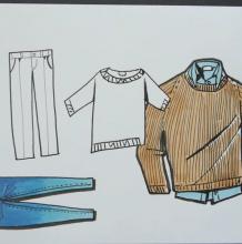针管笔结合马克笔——简单的衣服时装