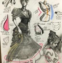 对比真人模特快速把握人物姿势动态的速写描绘 服饰褶皱是重点