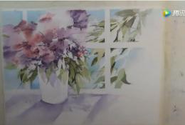 摆放在阳台的鲜花唯美水彩手绘教程